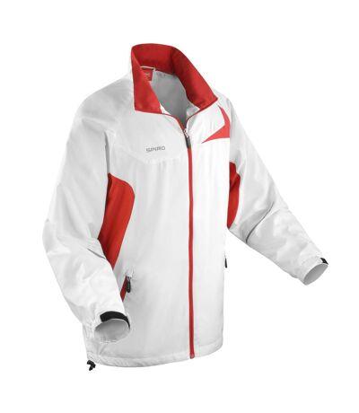 Spiro Mens Micro-Lite Performance Sports Jacket (Water Repellent, Wind Resistant & Breathable) (Black/Red) - UTRW1474