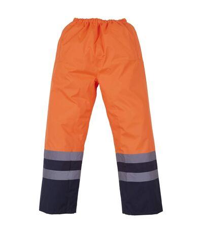 Yoko Mens Hi Vis Waterproof Overtrousers (Pack of 2) (Orange/ Navy) - UTRW6888