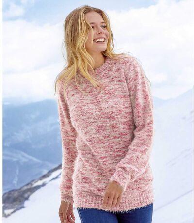 Women's Pink Mottled Fluffy Knit Sweater