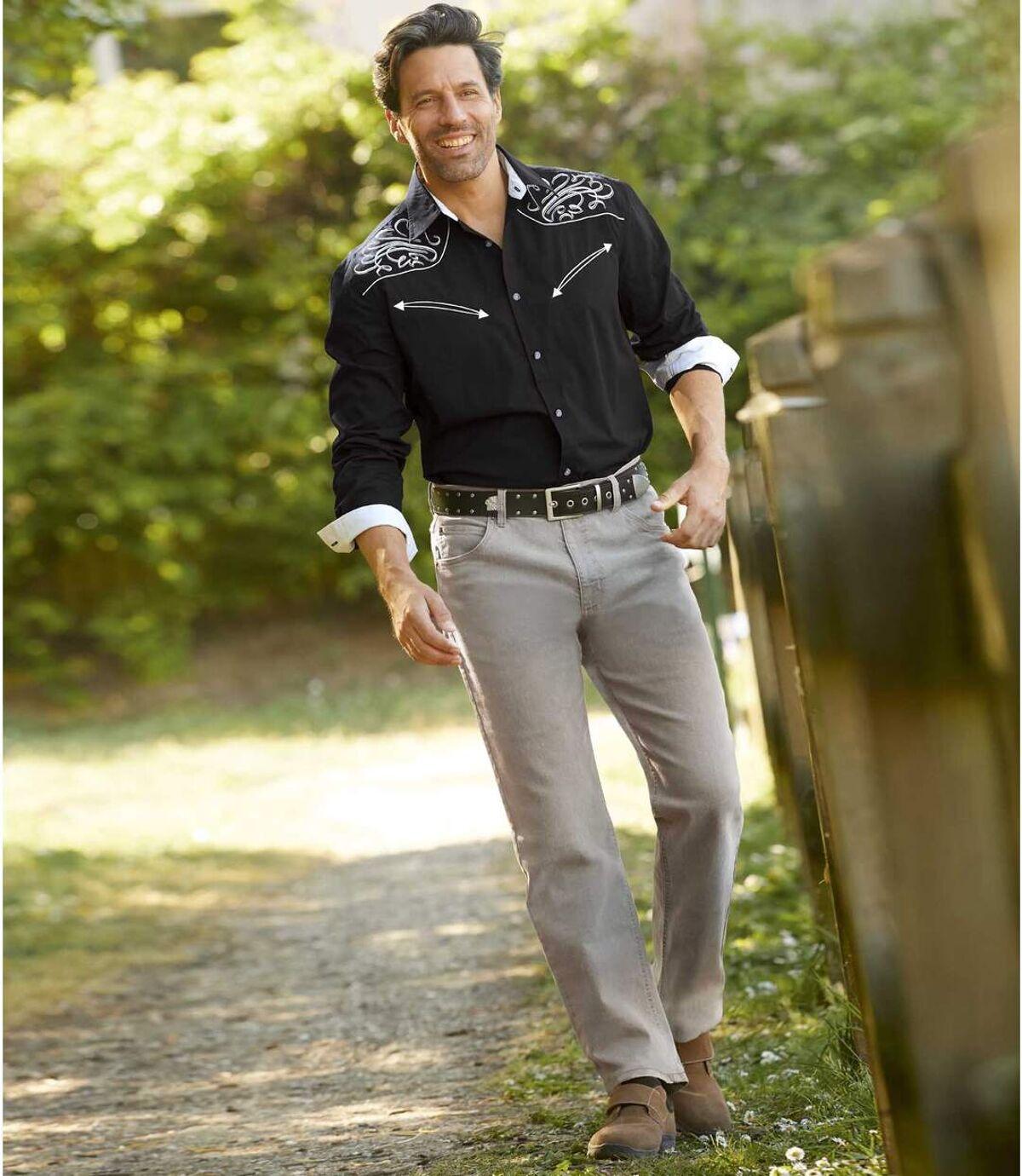 Men's Stretch Grey Jeans - Regular Fit Atlas For Men