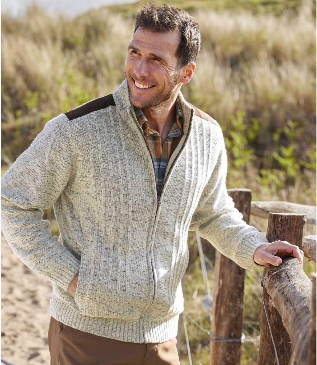 Men's Fleece-Lined Knitted Jacket - Beige Brown  Atlas For Men