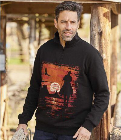 Men's Half Zip Brushed Fleece Print Jumper - Black