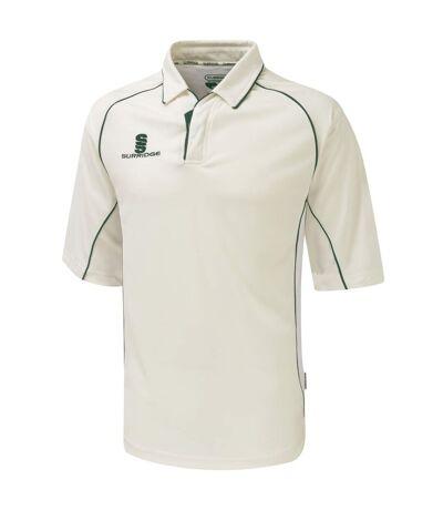 Surridge Mens/Youth Premier Sports 3/4 Sleeve Polo Shirt (White/Green trim) - UTRW1495