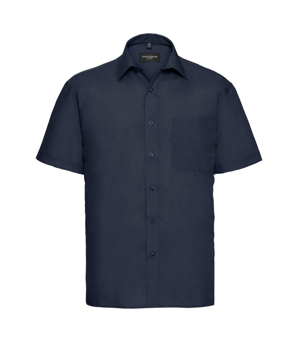 Russell Collection Mens Short Sleeve Poly-Cotton Easy Care Poplin Shirt (French Navy) - UTBC1029