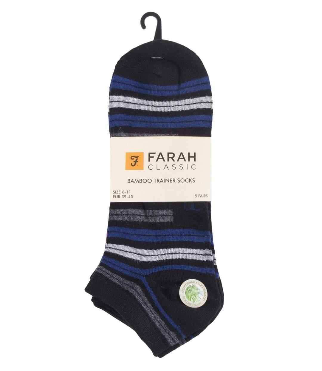 5 Pk Mens Striped Breathable Bamboo Trainer Socks