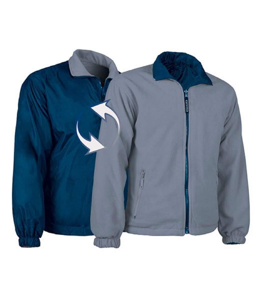 Veste polaire réversible - Homme - REF GLASGOW - bleu-marine - gris