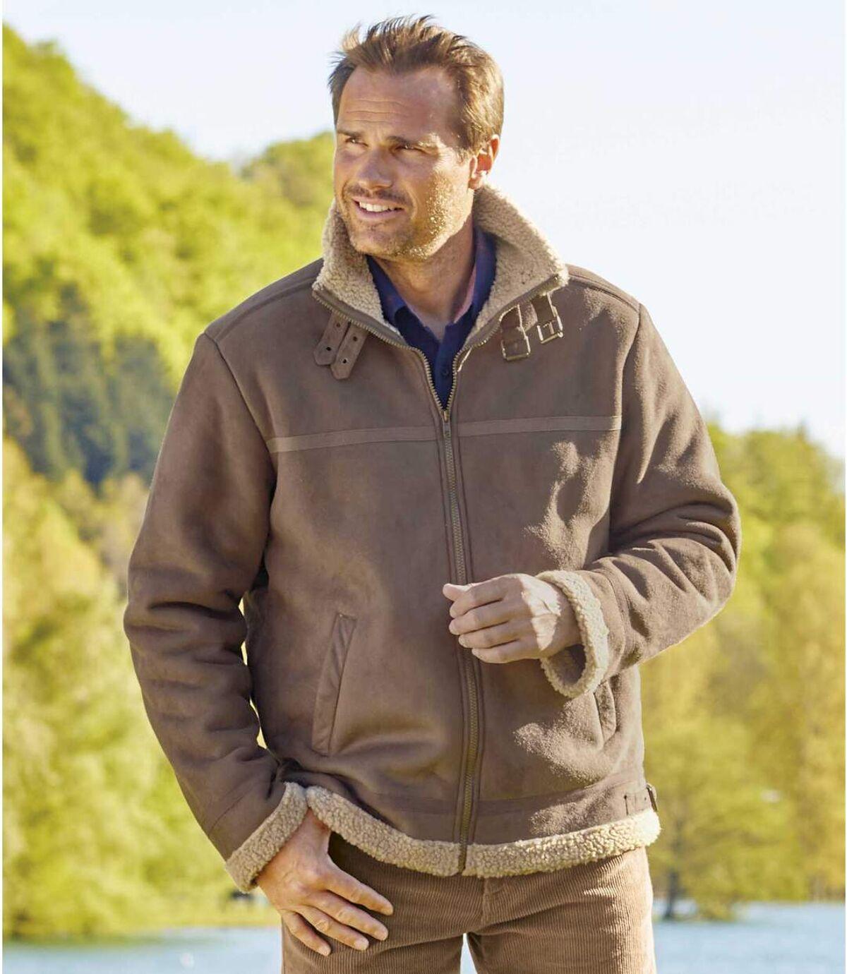 Semišová bunda s umělou kožešinou Atlas For Men