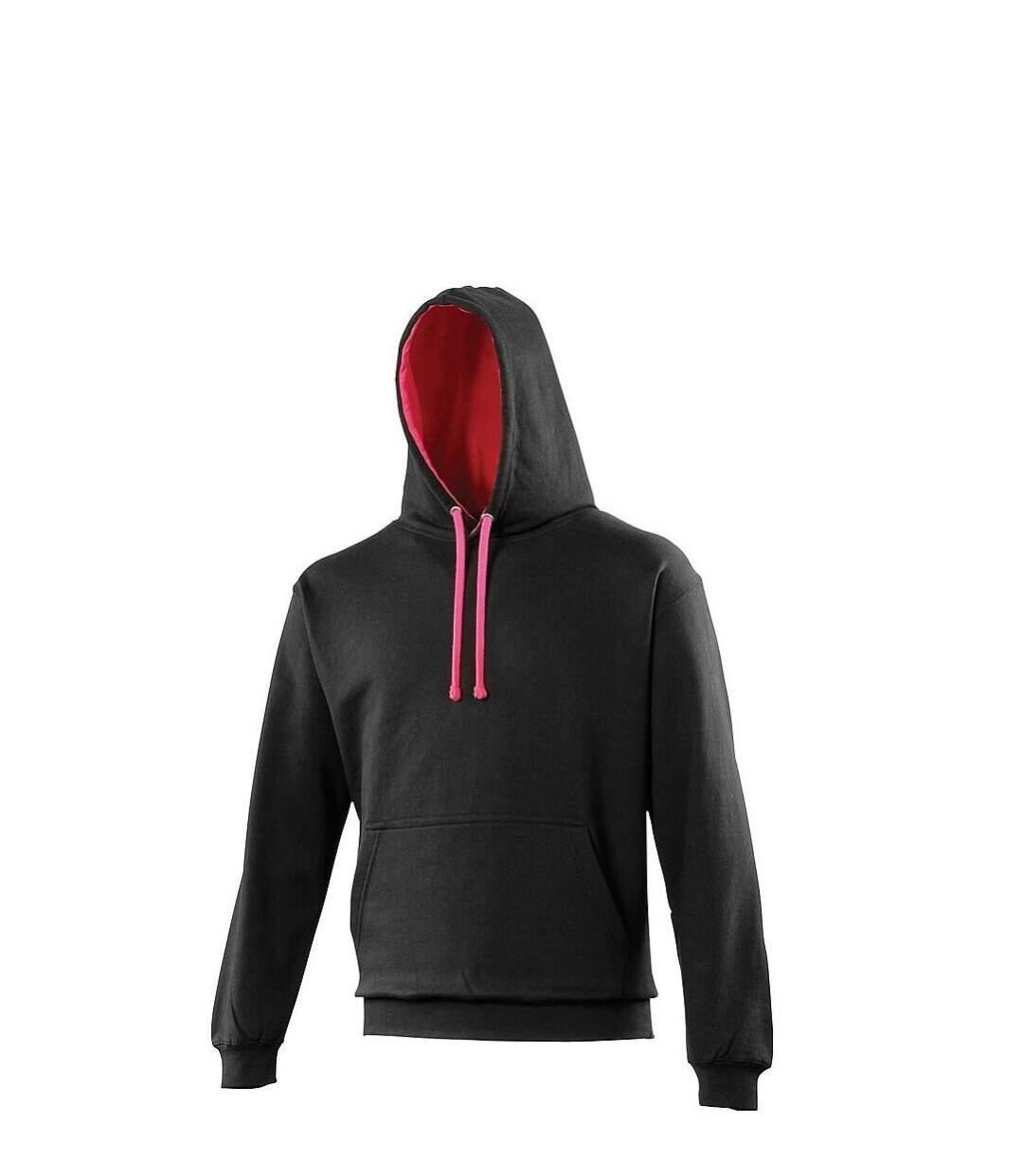 Sweat à capuche contrastée unisexe - JH003 - noir et rose