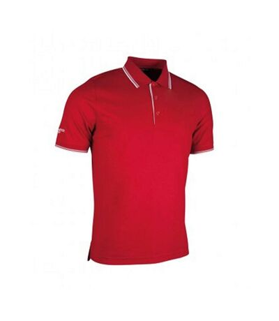 Glenmuir Mens Tipped Short Sleeve Moisture Wicking Polo Shirt (Garnet/White) - UTPC2407
