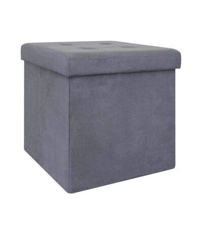 Pouf coffre de rangement capitonné gris