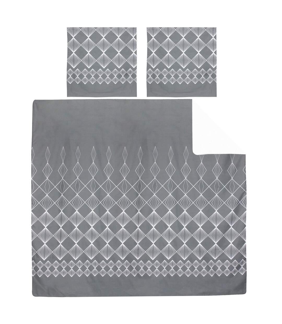 Parure de lit 200x200 cm 100% coton FOREVER GRIS gris foncé 3 pièces