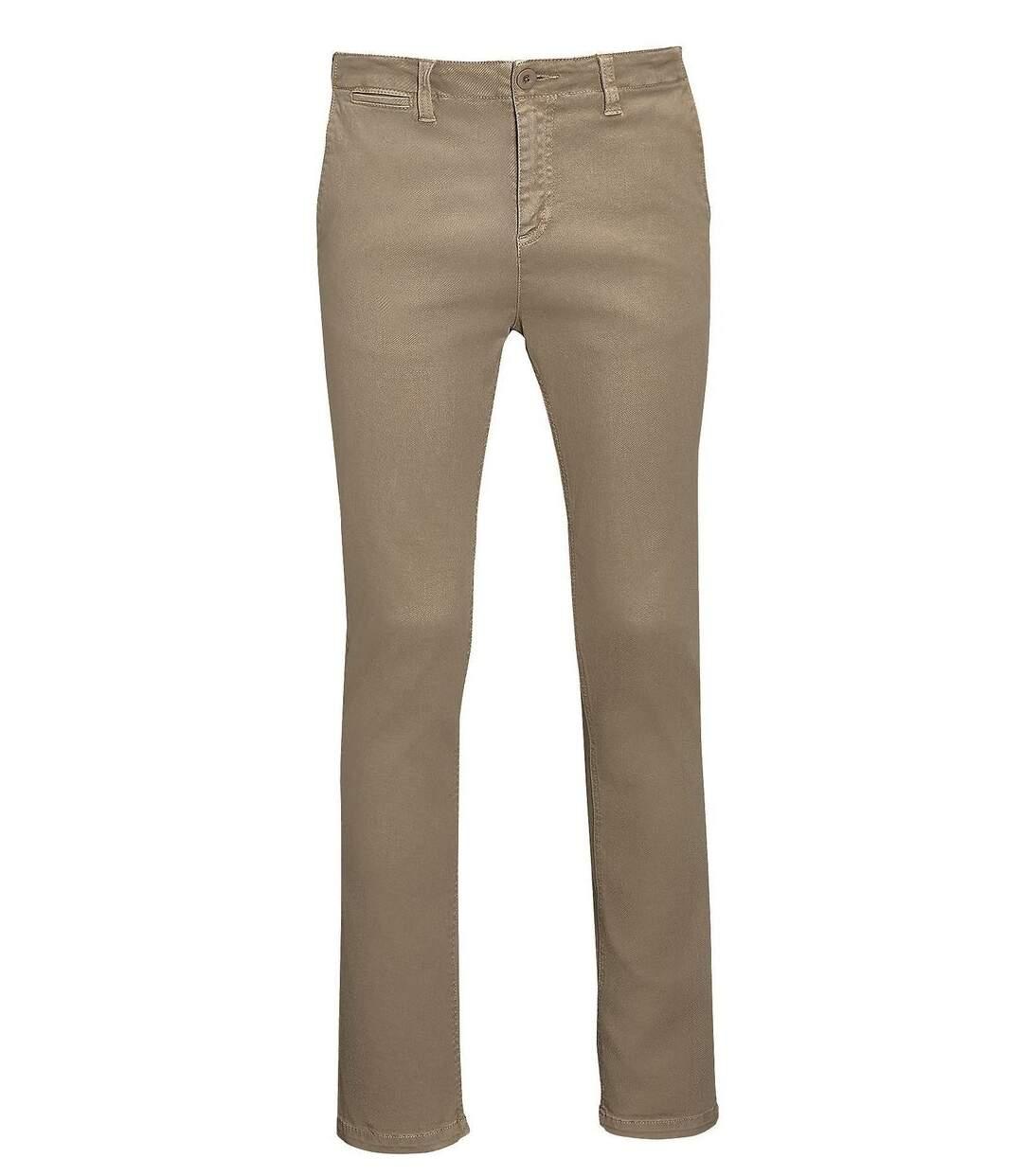 pantalon toile stretch homme - 01424 L33 - beige chataigne