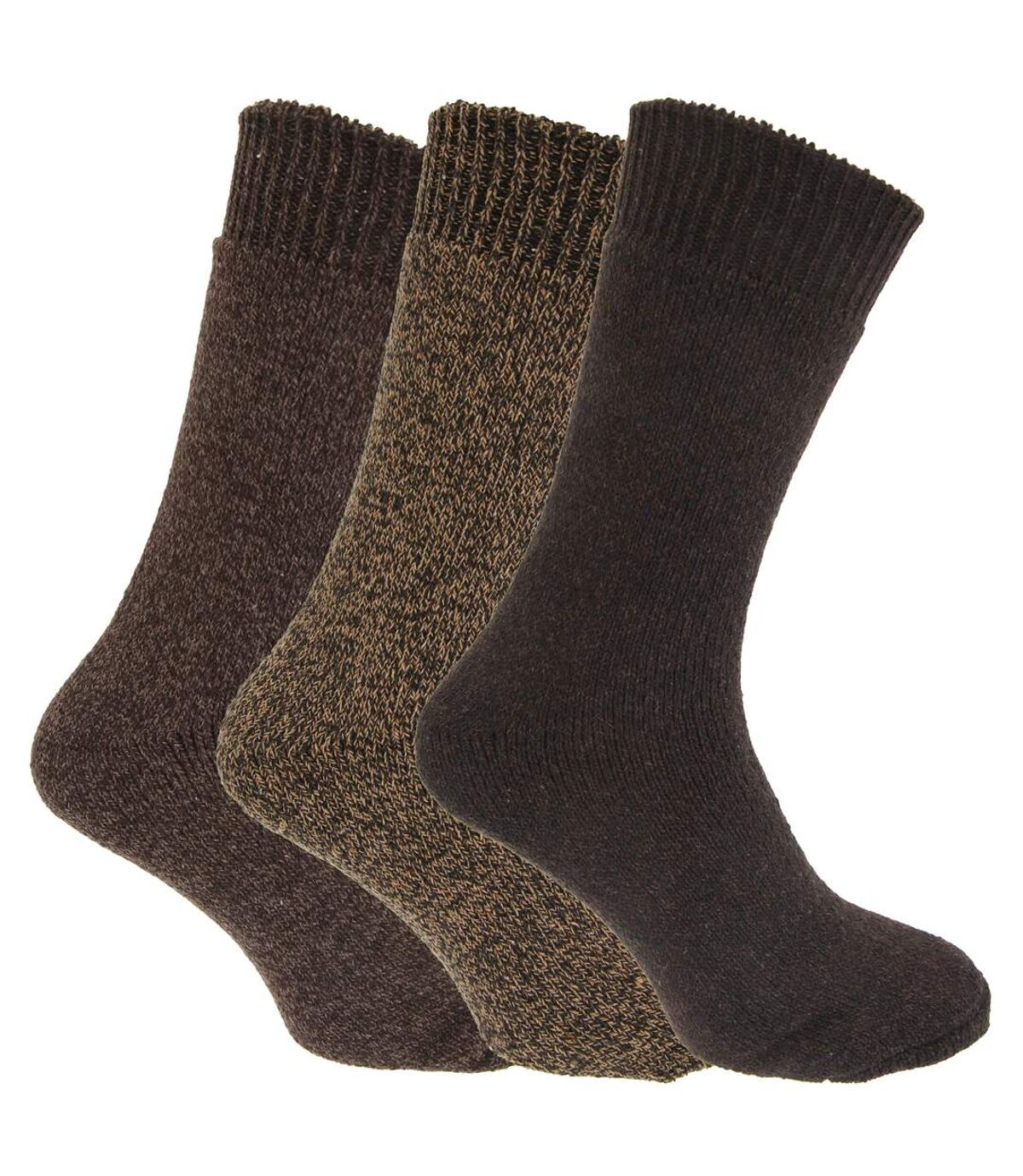 Mens Wool Blend Fully Cushioned Thermal Boot Socks (Pack Of 3) (Shades Of Brown) - UTMB430