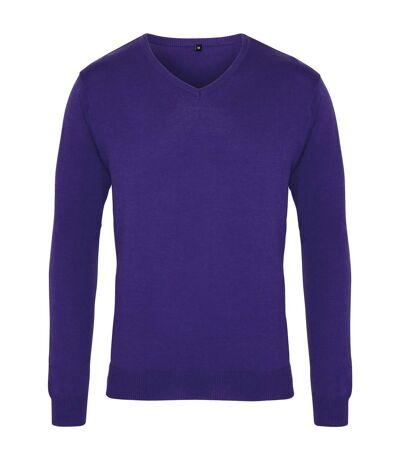 Premier Mens V-Neck Knitted Sweater (Purple) - UTRW1131