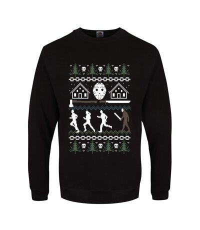 Grindstore Mens Camp Crystal Lake Christmas Jumper (Black) - UTGR1906