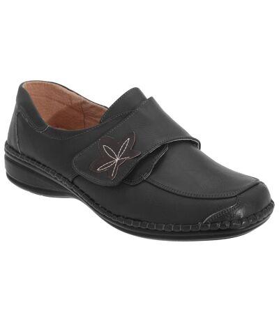 Boulevard - Chaussures larges à sangle à scratch - Femme (Noir) - UTDF1011