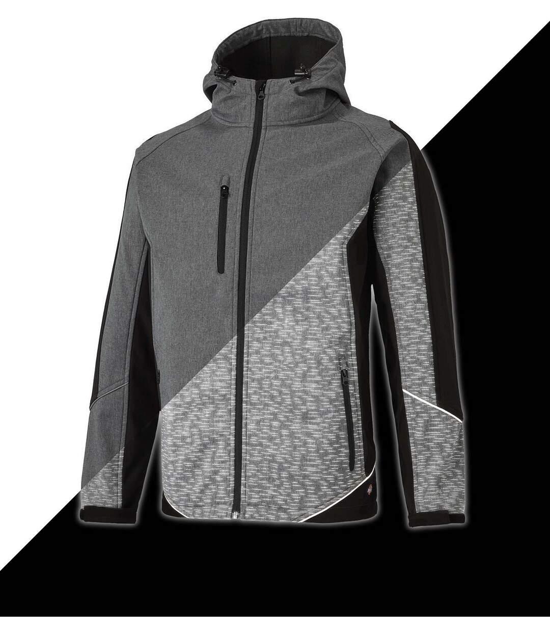 Veste technique - Softshell réflective - DJW7017 - gris et noir