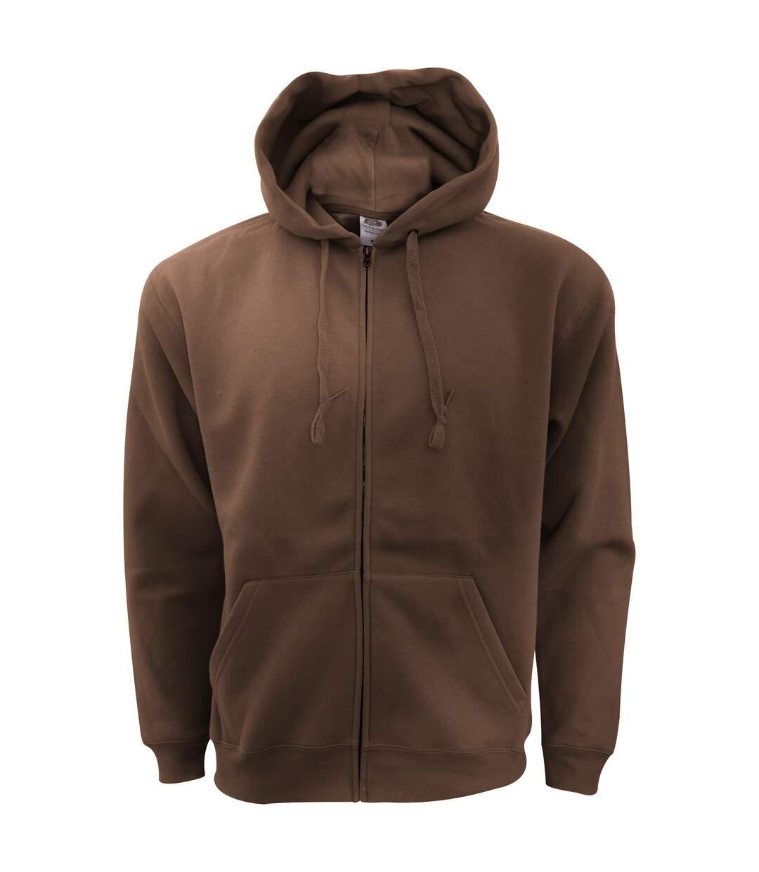 Fruit Of The Loom Mens Zip Through Hooded Sweatshirt / Hoodie (Classic Olive) - UTBC360