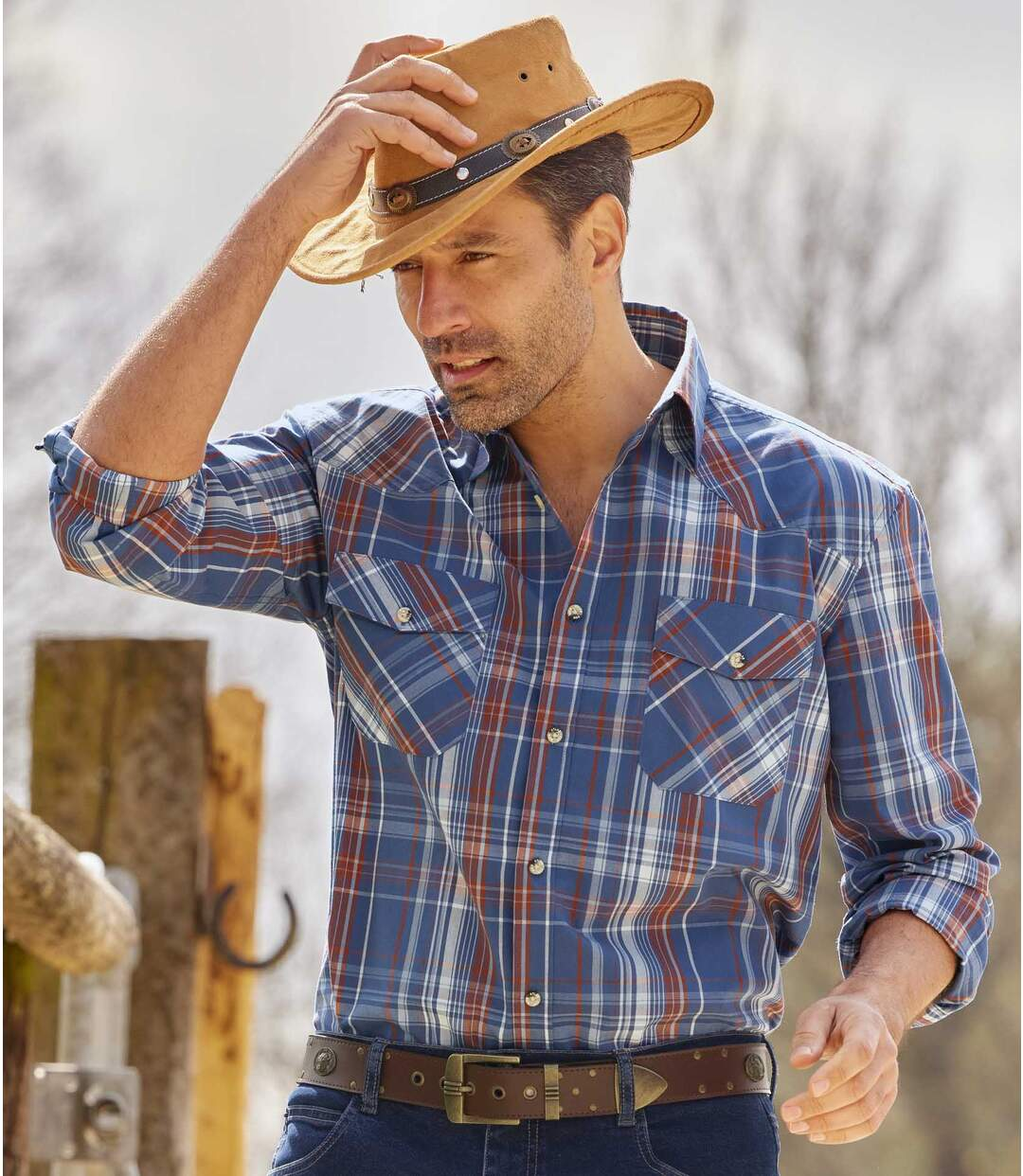Kostkovaná popelínová košile Country Atlas For Men