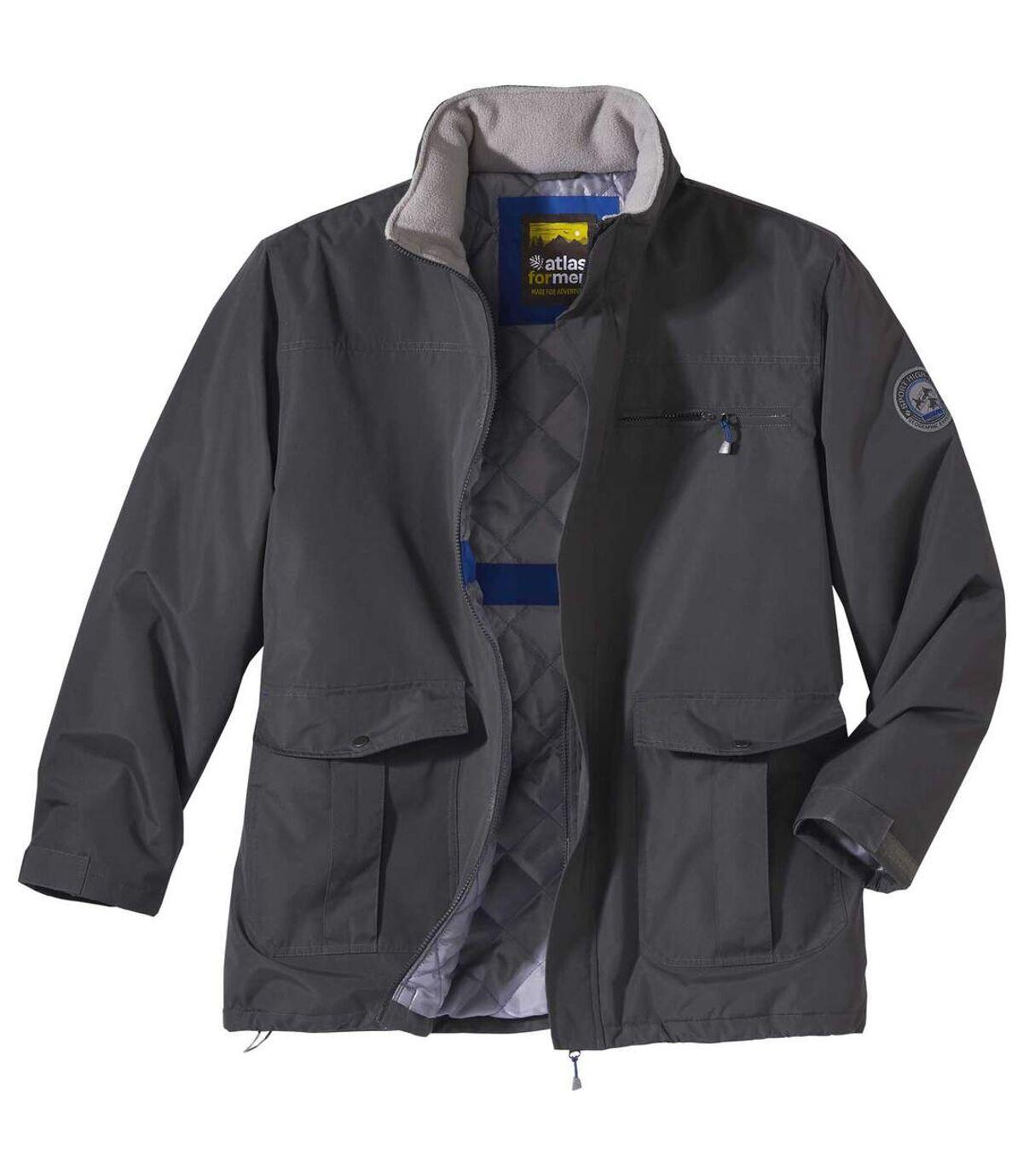 Men's Gray All-Terrain Parka - Foldaway Hood -Water-Repellent - Full Zip Atlas For Men