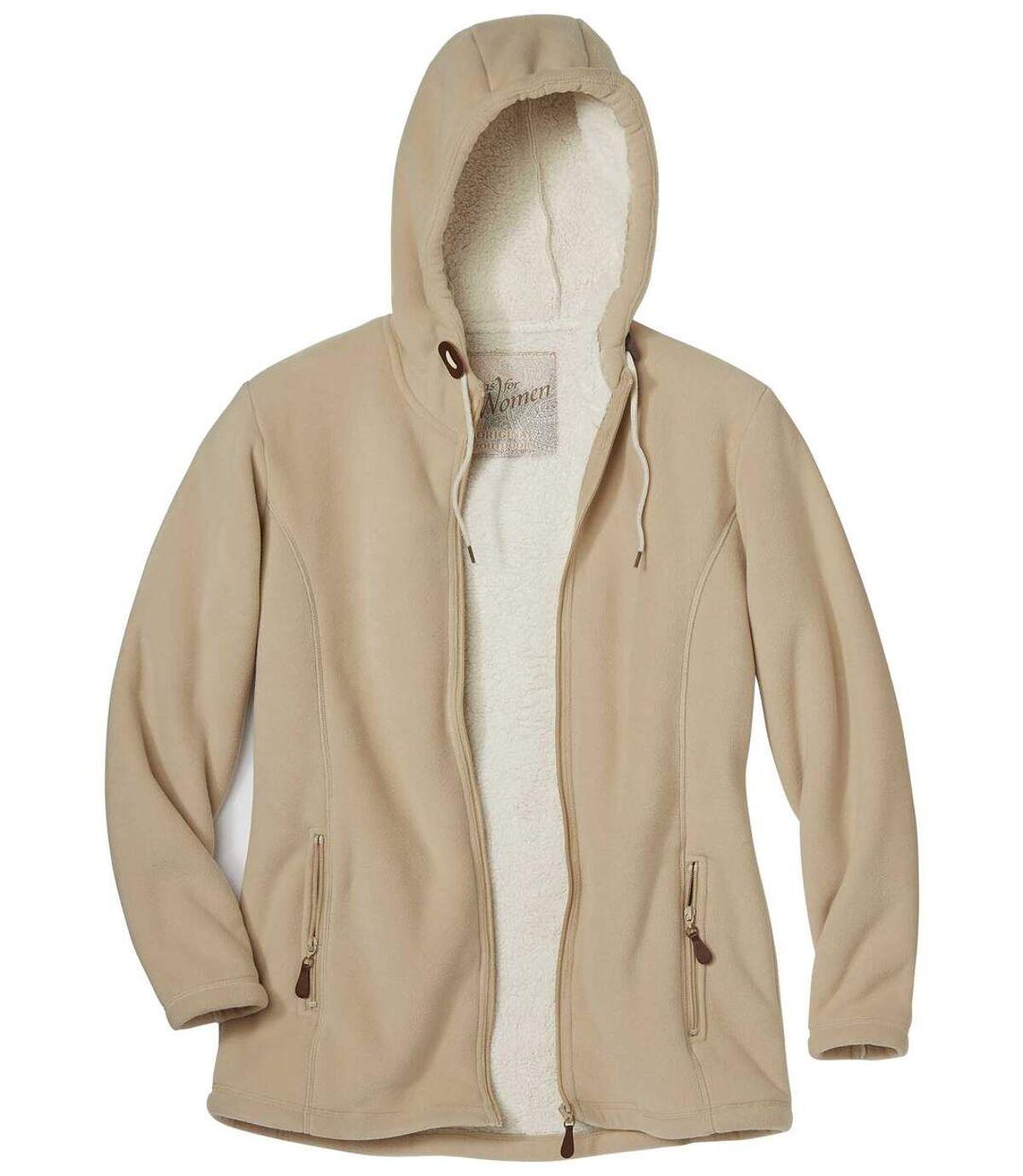 Women's Beige Jacket with Hood and Coral Fleece Lining Atlas For Men