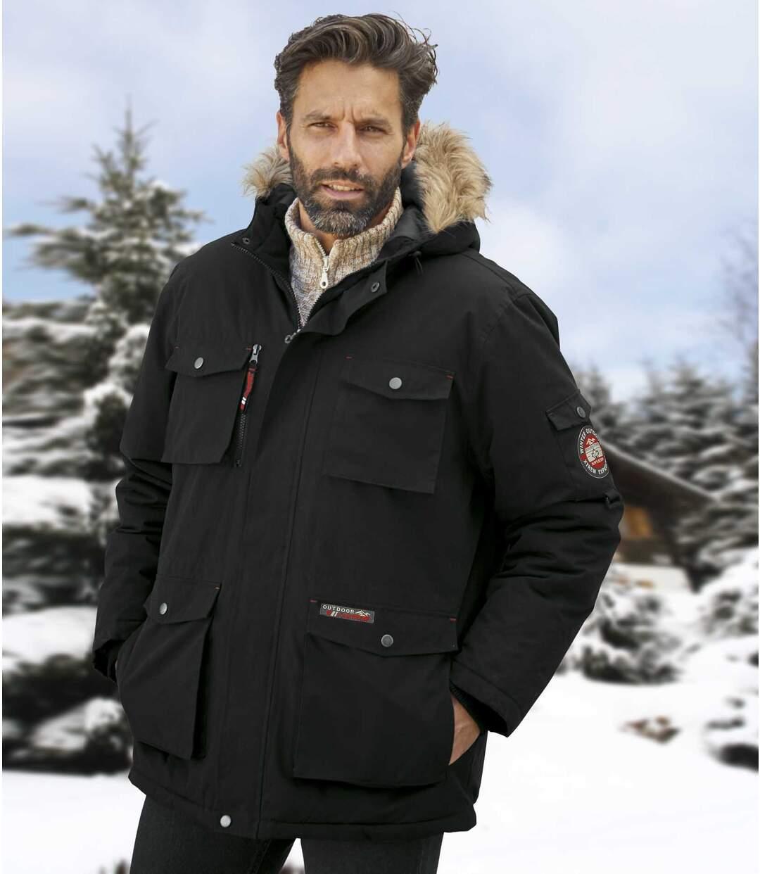 Speciális téli parka műszőrmés kapucnival