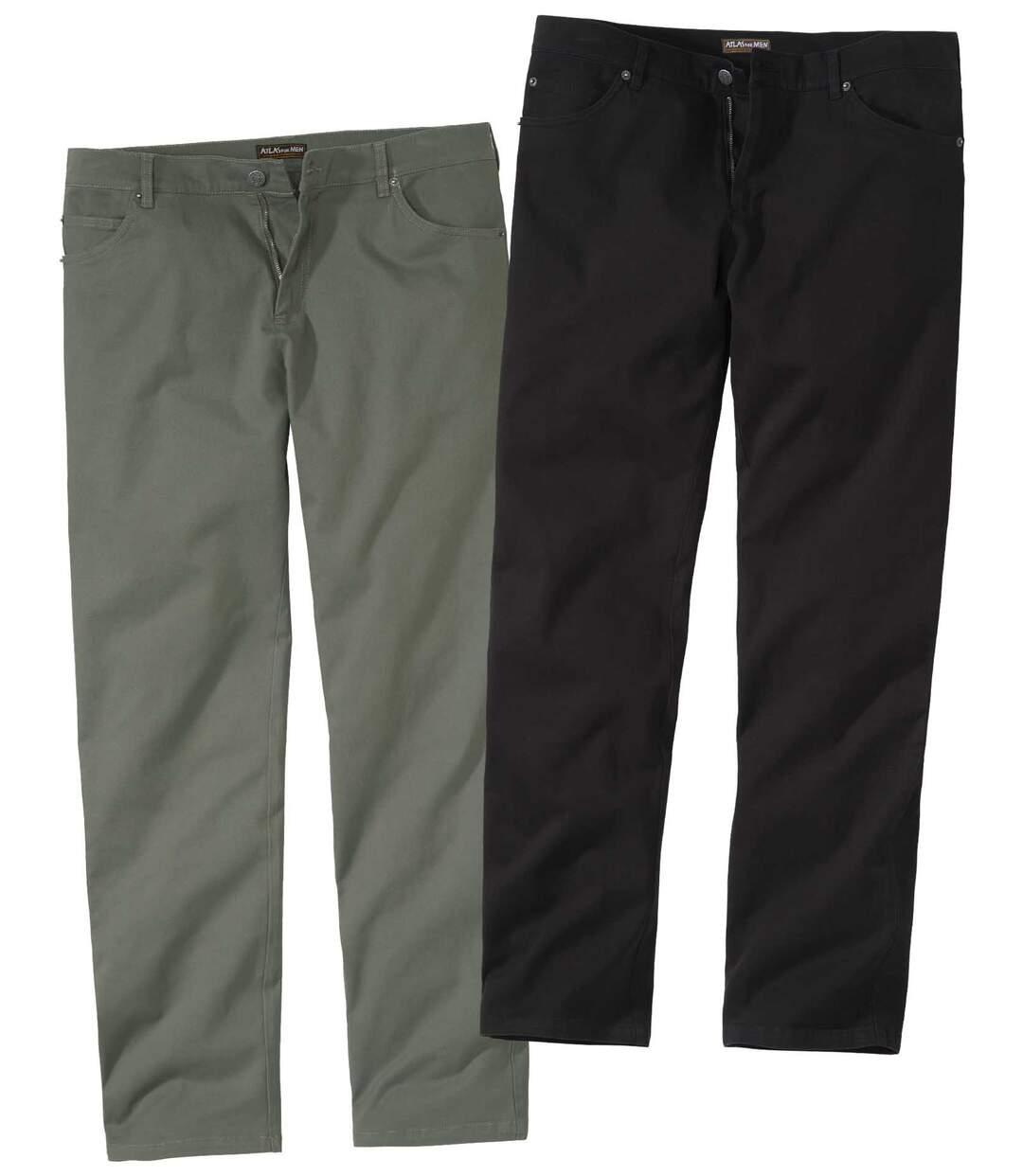 Pack of 2 Men's Twill Trousers - Khaki Black