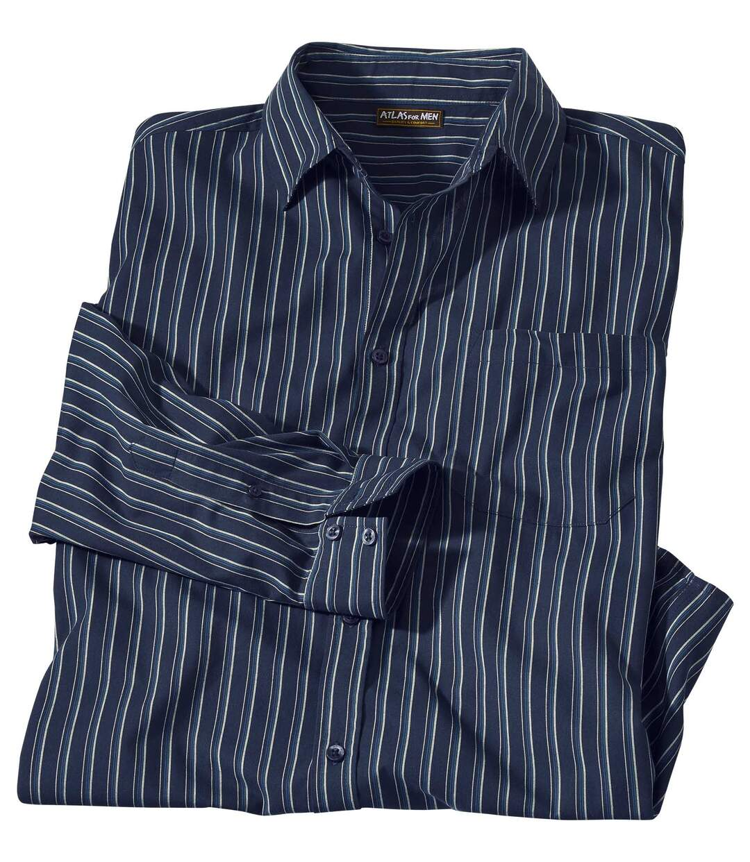 In Blautönen gestreiftes Popelinhemd