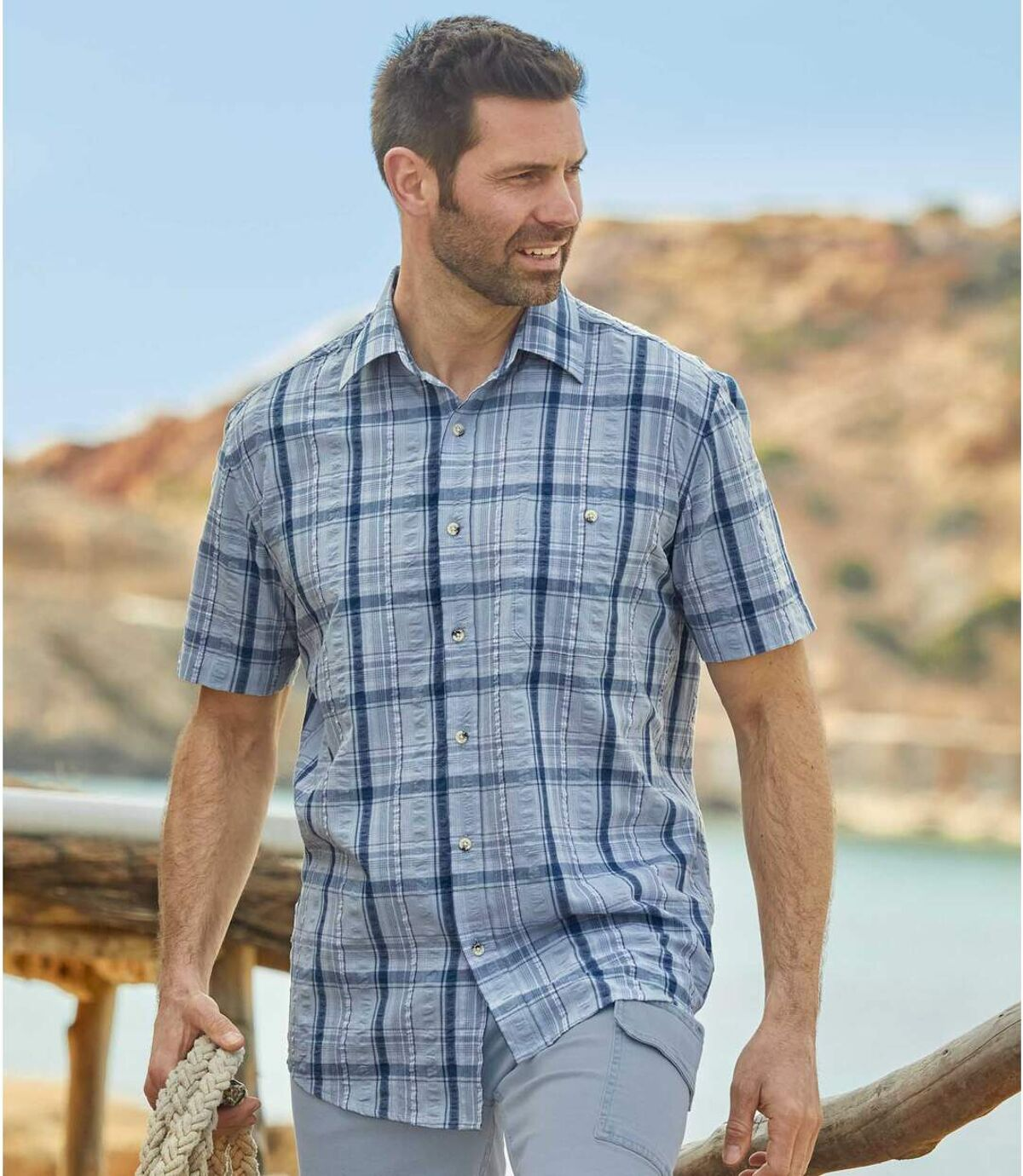 Gofrowana koszula w kratę Atlas For Men