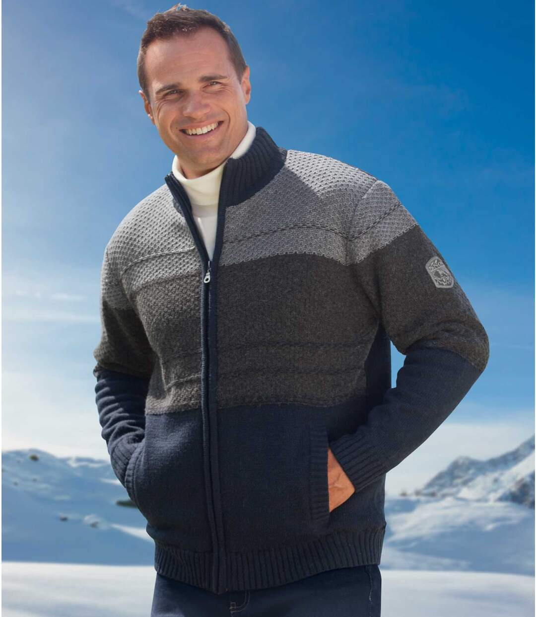 Men's Full Zip Knit Jacket with Microfleece Lining
