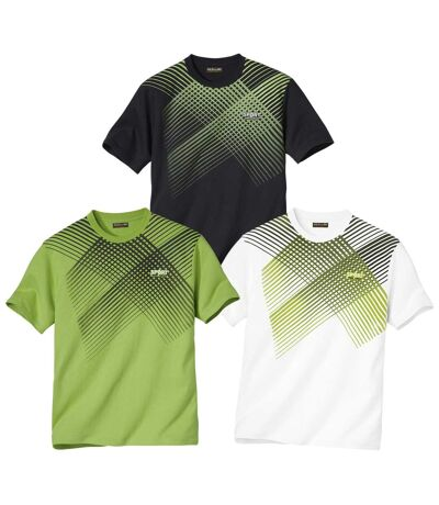 Pack of 3 Men's Sporty Graphic Print T-Shirts - Crew Neck - Black, White, Green