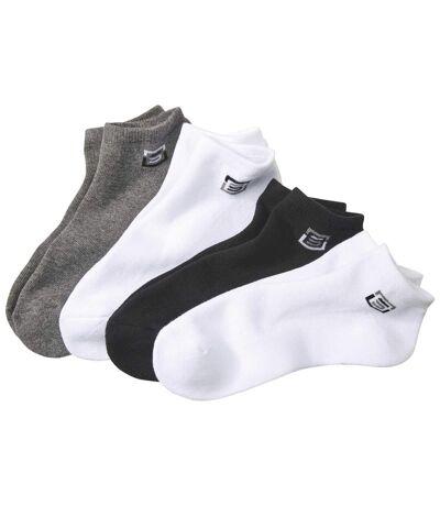 Pack of 4 Men's Sporty Trainer Socks - Black White Gray