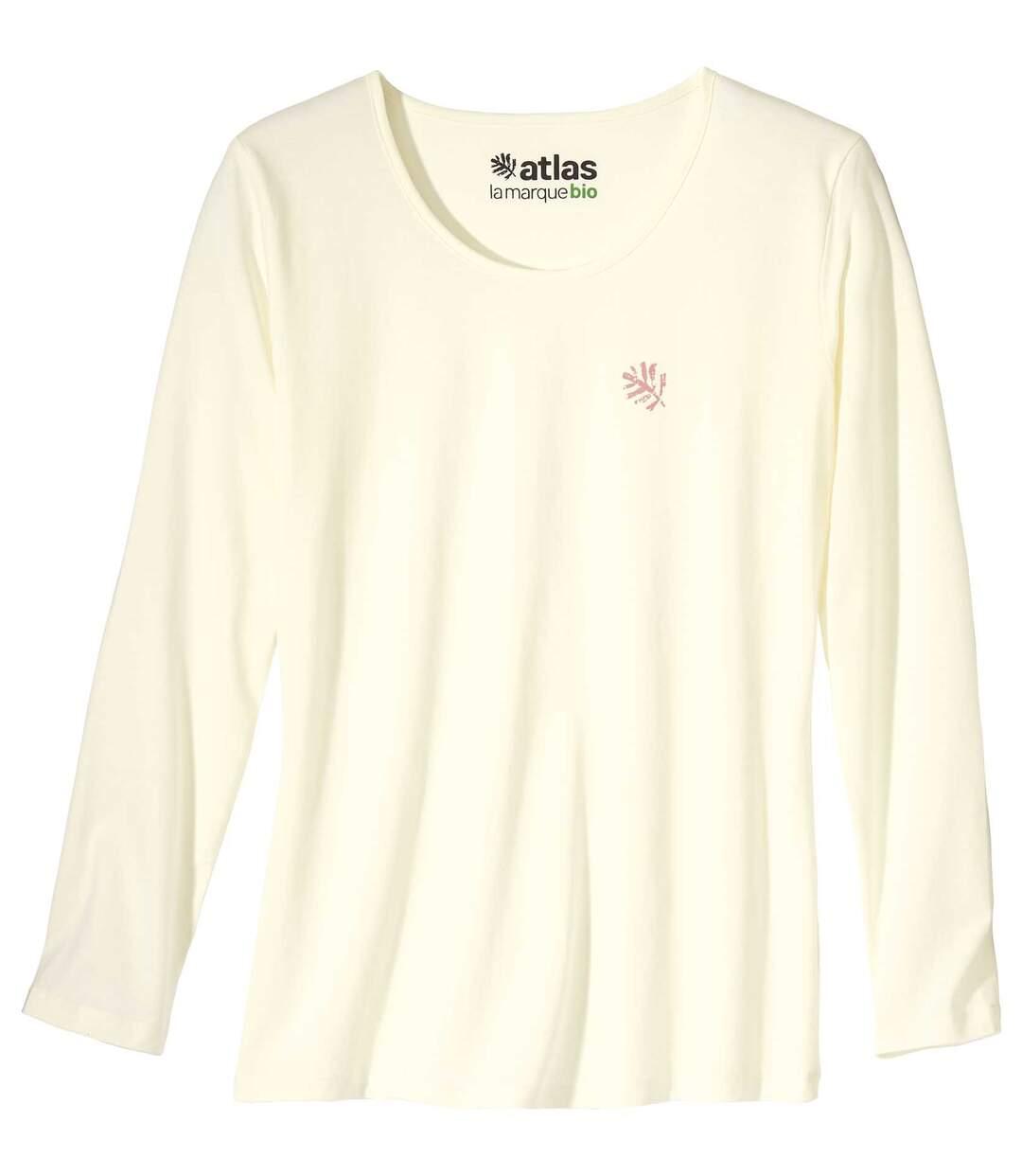 Le Tee-Shirt Femme Manches Longues Coton Bio Ecru