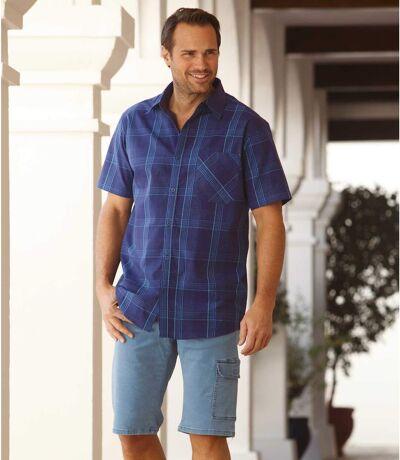 Men's Blue Checked Short Sleeve Shirt