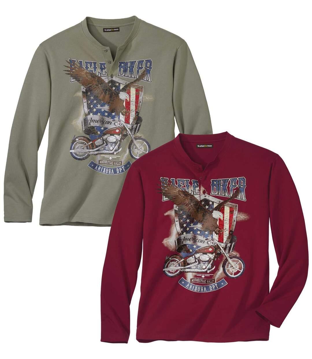 Zestaw 2 t-shirtów z długimi rękawami i dekoltem z guzikami