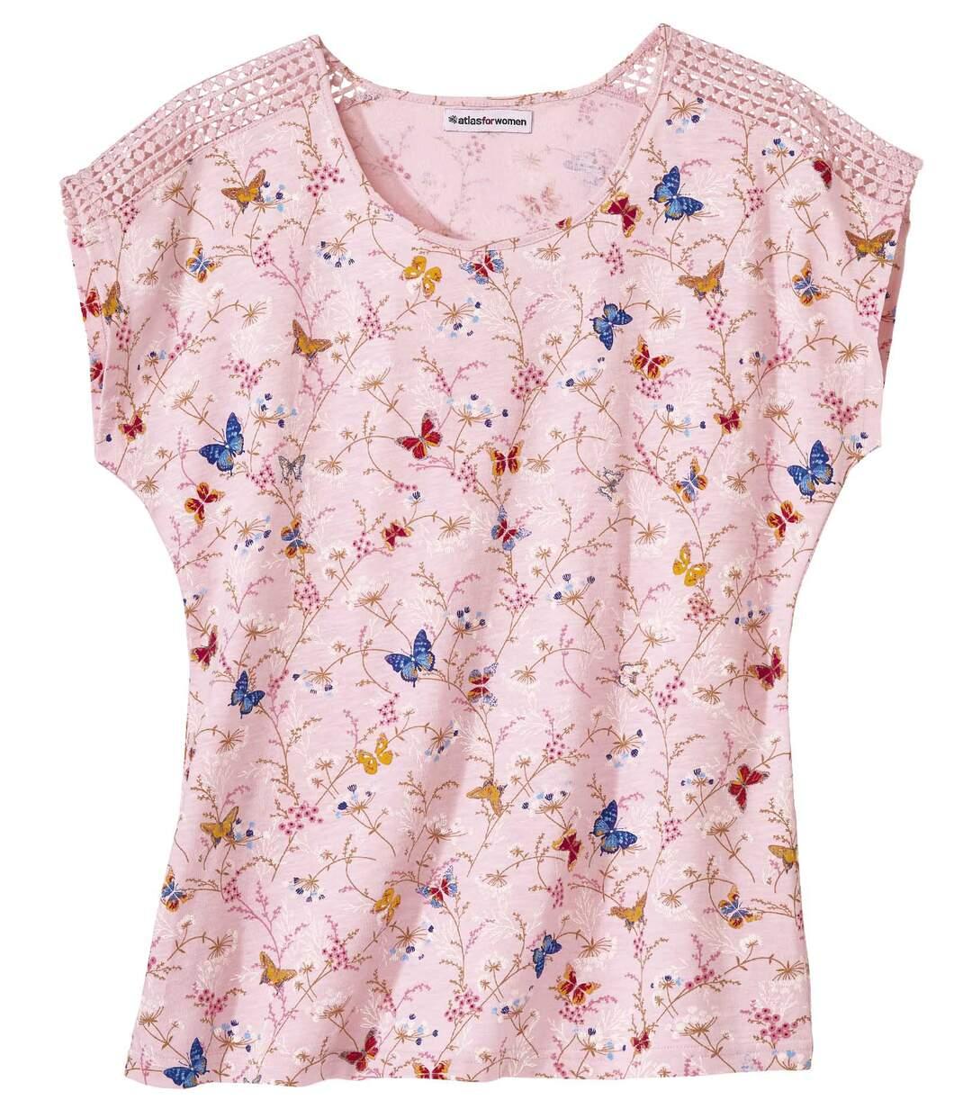T-Shirt mit Allover-Print und Makramee