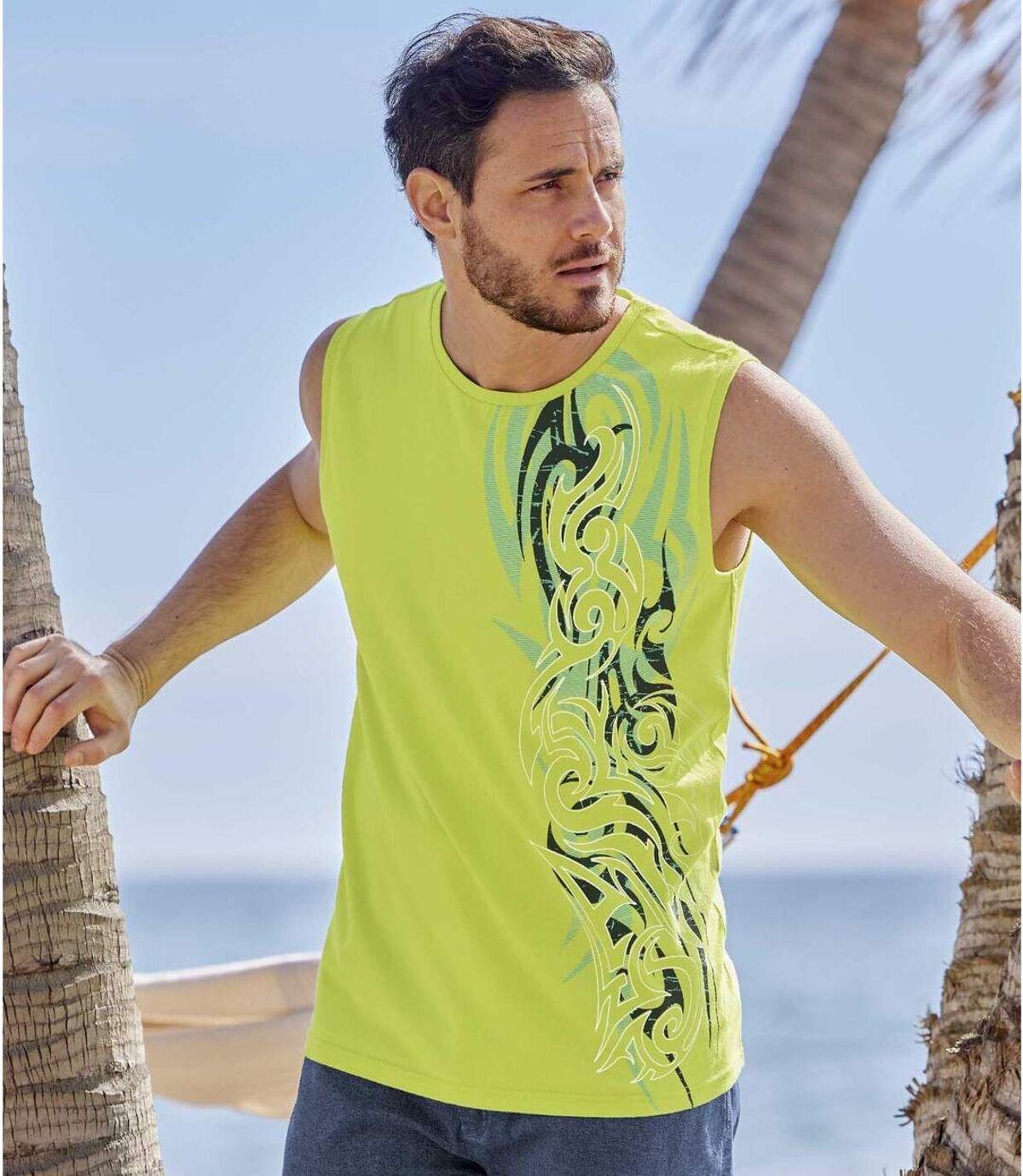Lot de 2 Tee-Shirts Sans Manches Hawaï  Atlas For Men