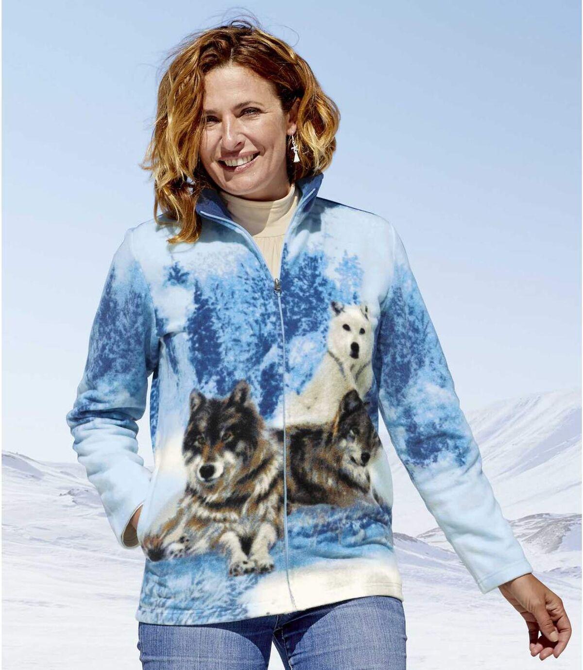 Nyomtatott farkas mintázatú polár kabát Atlas For Men