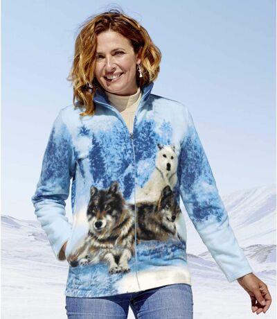Women's Blue Wolf Print Fleece Jacket
