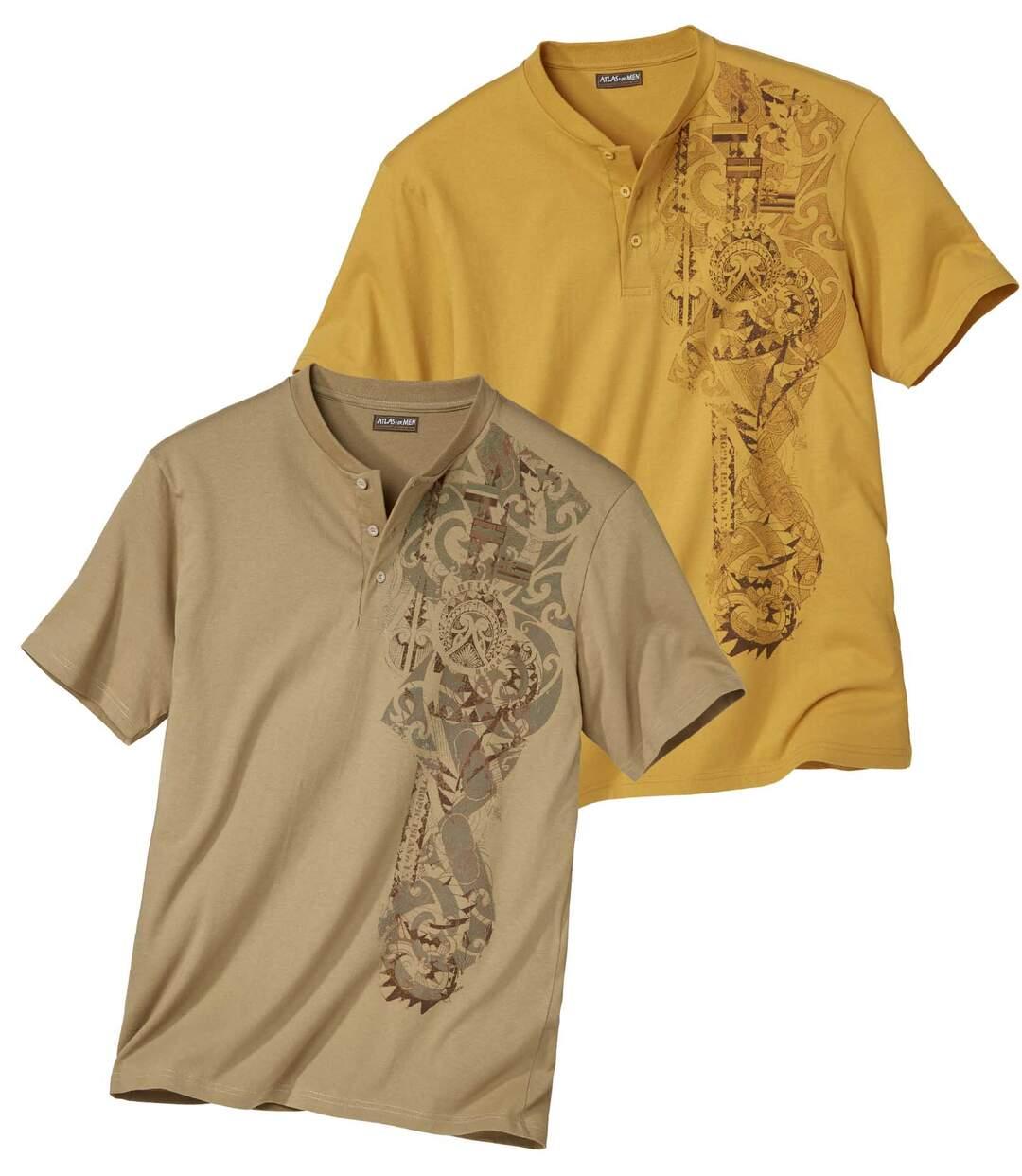 Pack of 2 Men's Maori Print T-Shirts - Ochre Beige