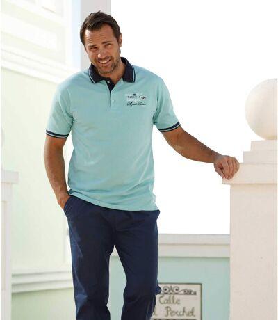 Men's Turquoise Short Sleeve Polo Shirt