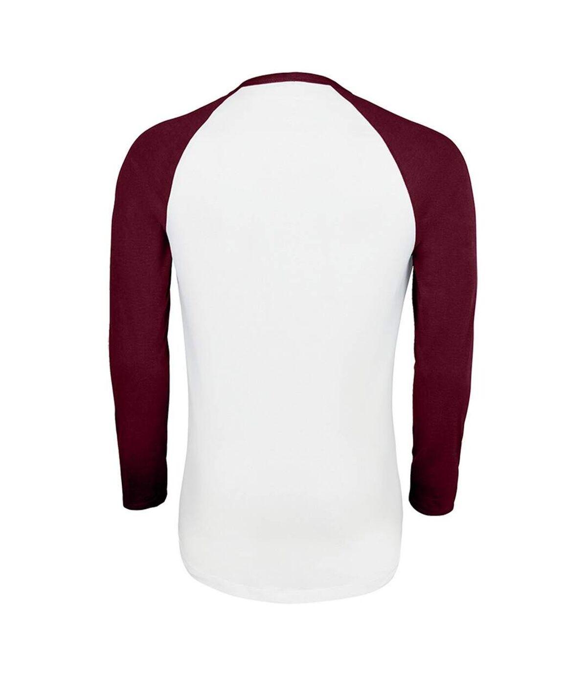 SOLS - T-shirt manches longues FUNKY - Homme (Blanc/bordeaux) - UTPC3513