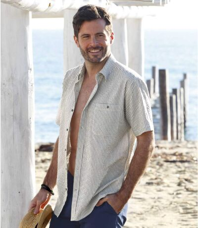 Men's Striped Textured Cotton Shirt - Grey, Ecru