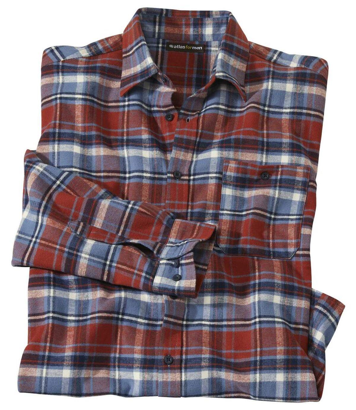 Men's Classic Checked Flannel Shirt - Red Navy Atlas For Men