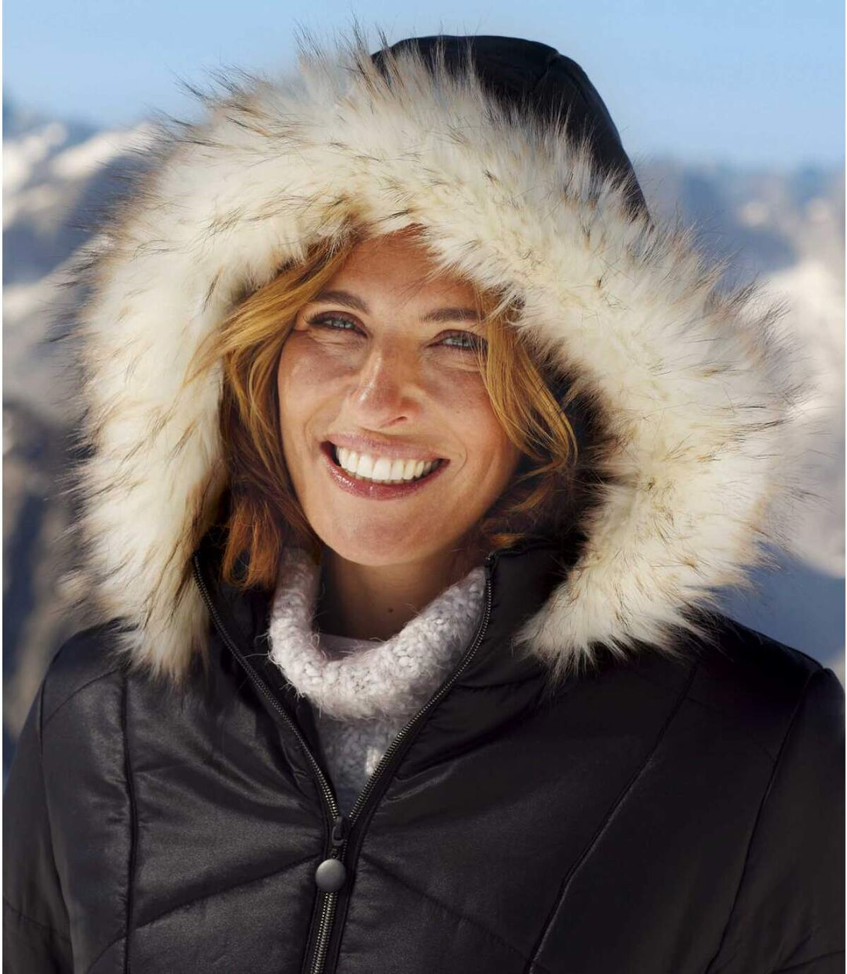 Wattierte Jacke Große Kälte mit Webpelz-Kapuze Atlas For Men