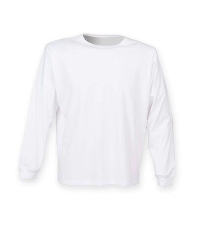 Skinnifit Mens Drop Shoulder Slogan Top (White) - UTRW4747