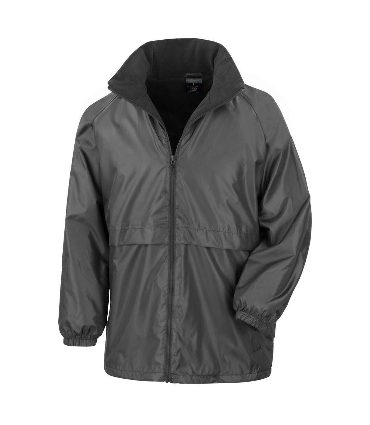 Result Mens Core Adult DWL Jacket (With Fold Away Hood) (Black) - UTBC896