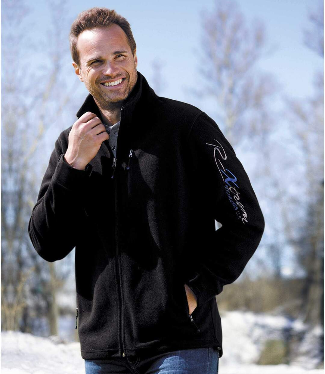 Men's Black Full Zip Fleece Jacket