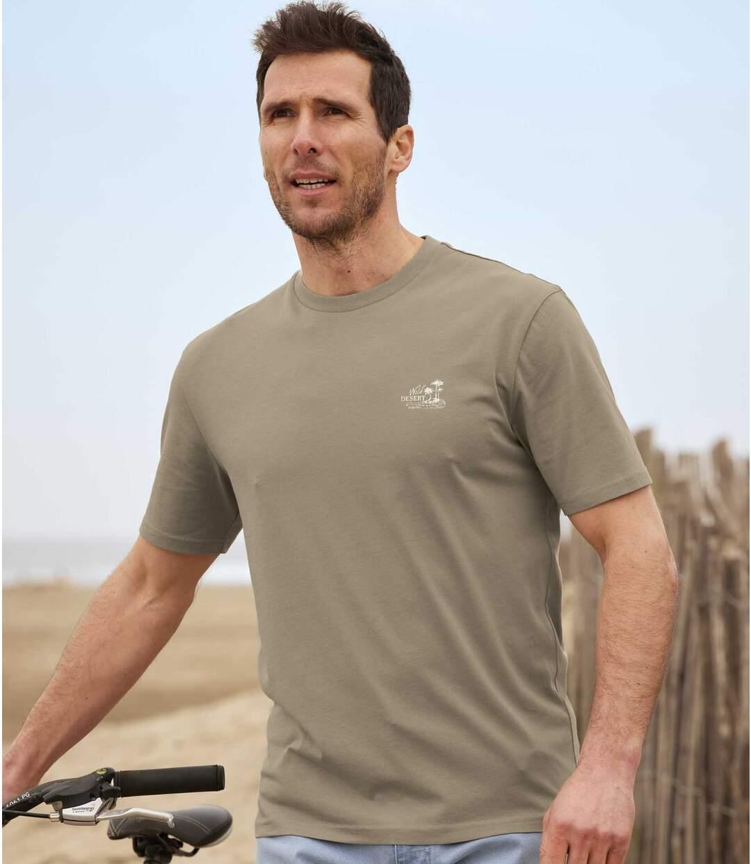 Pack of 4 Men's Classic T-Shirts - Orange Taupe Indigo Off-White Atlas For Men