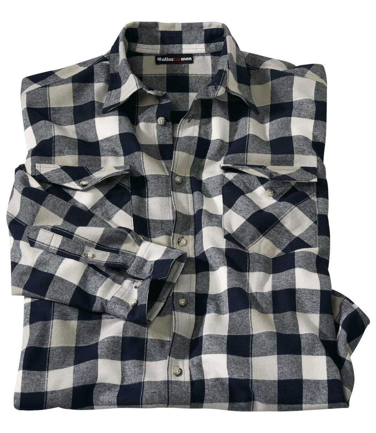 Men's Navy Checked Flannel Shirt Atlas For Men